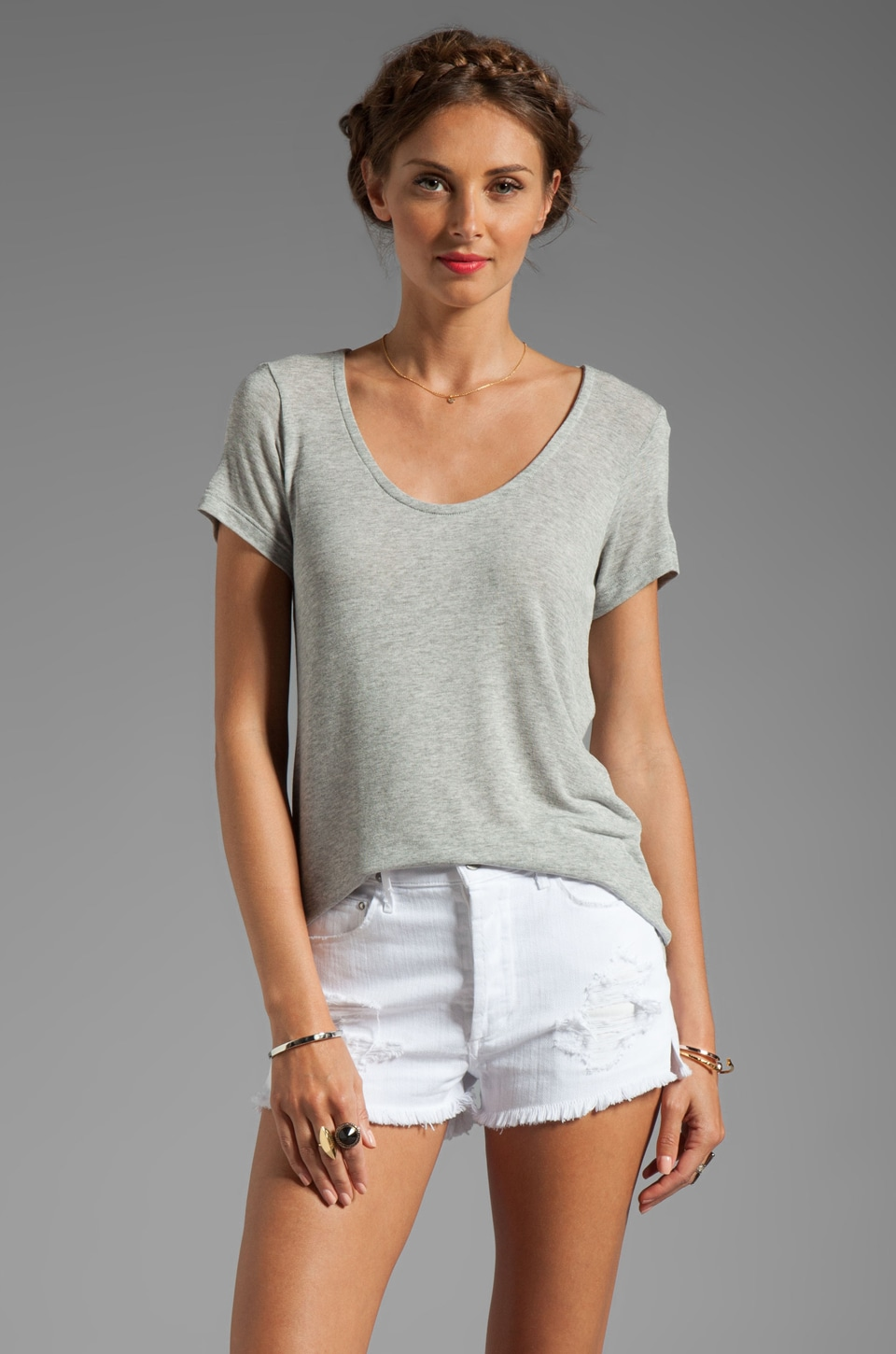 Splendid Short Sleeve Tee in Heather Grey