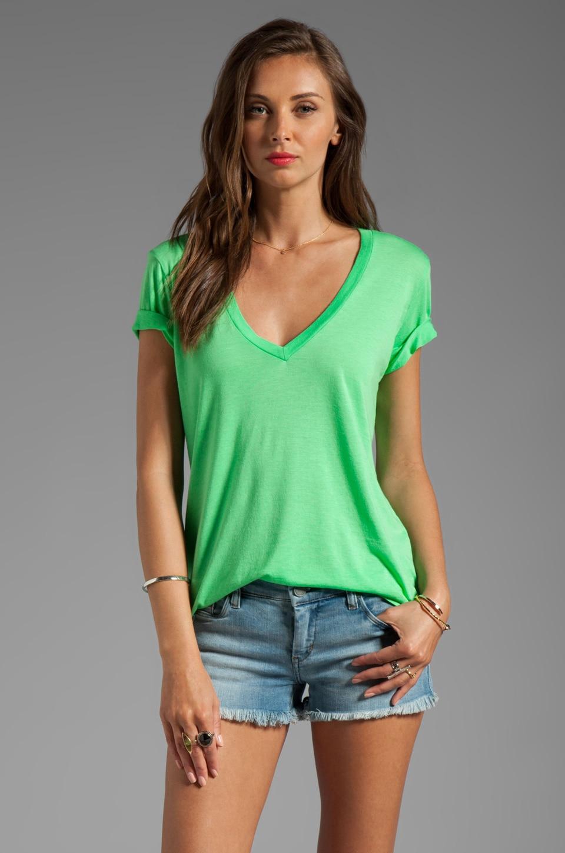 Splendid Short Sleeve V-Neck in Apple Green
