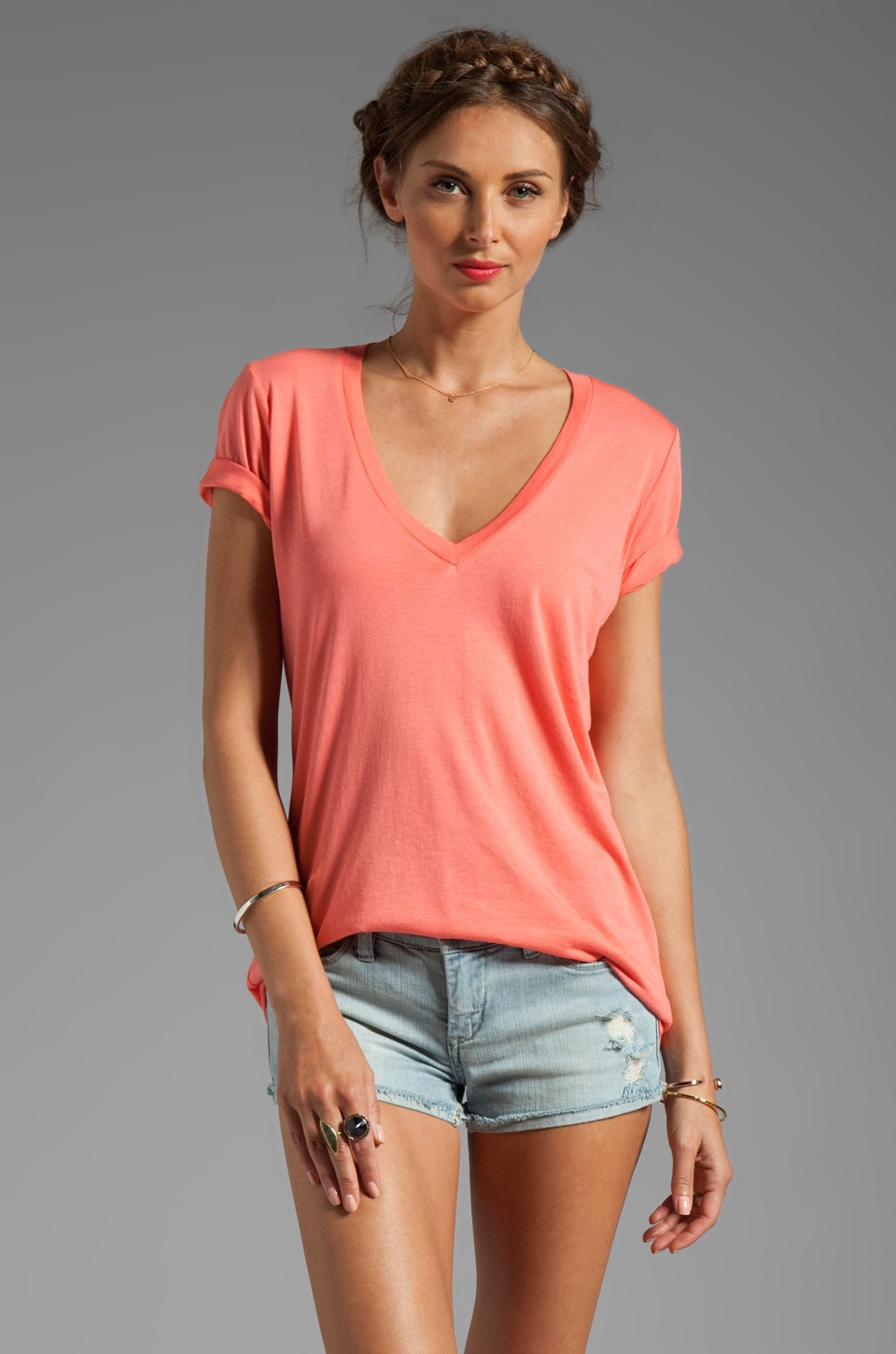 Splendid Short Sleeve V-Neck in Hot Coral