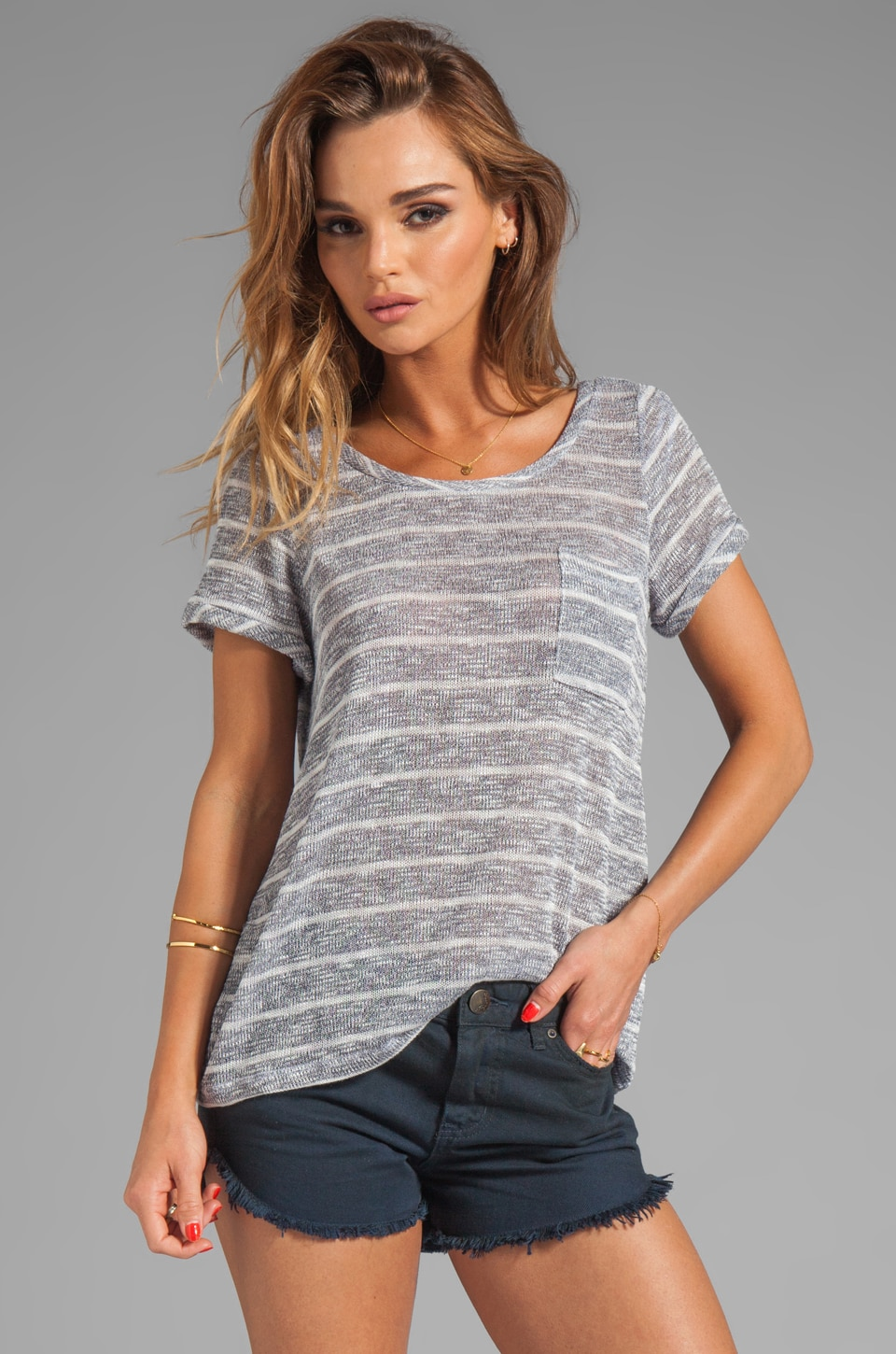 Splendid Caspian Striped Short Sleeve Top in Navy