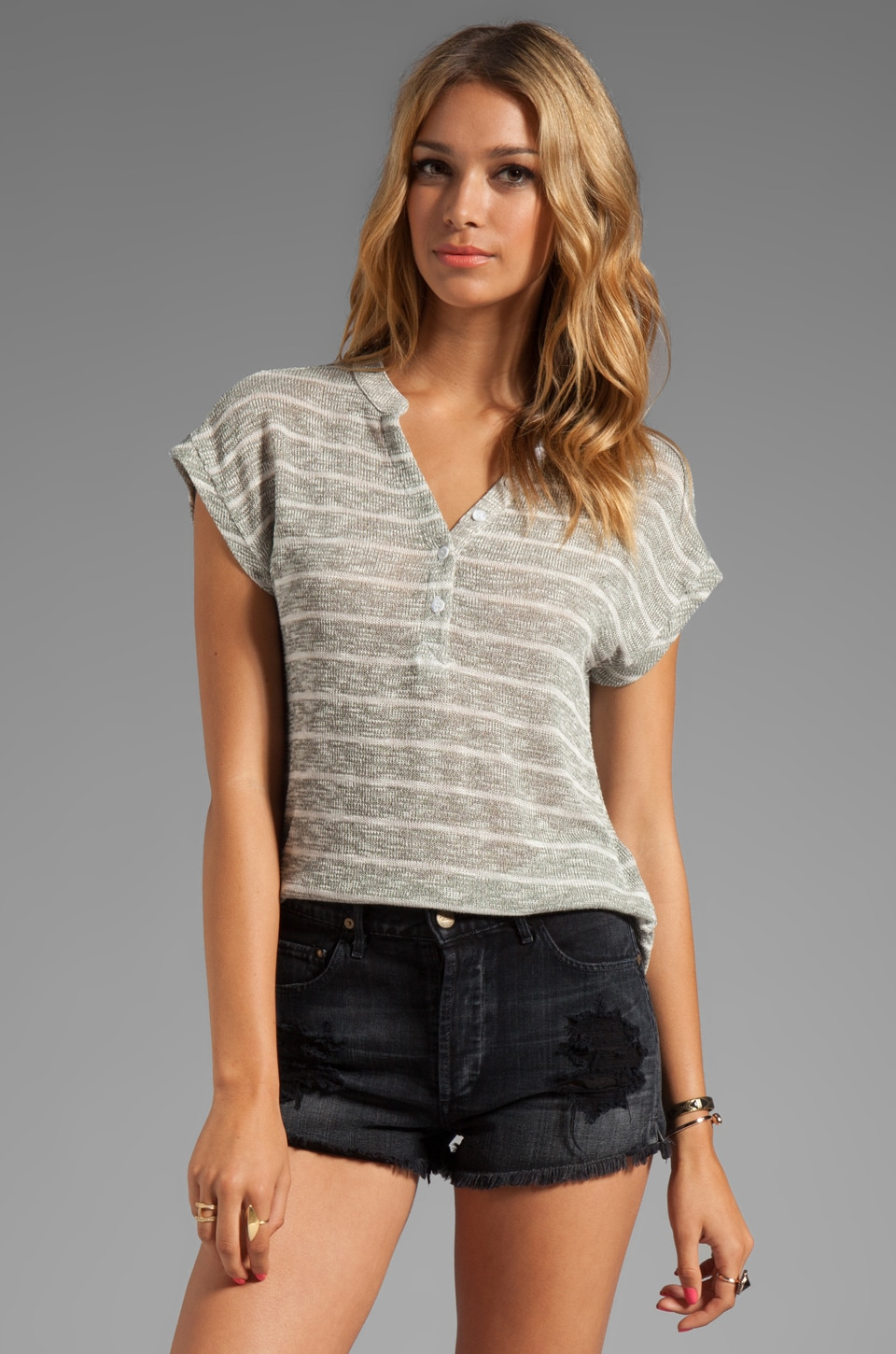 Splendid Caspian Stripe Top in Camo Green