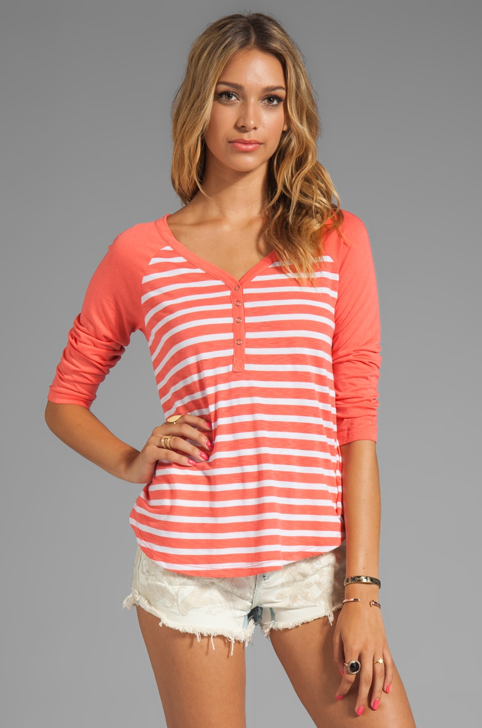 Splendid Mediterranean Stripe Henley Top in Hot Coral