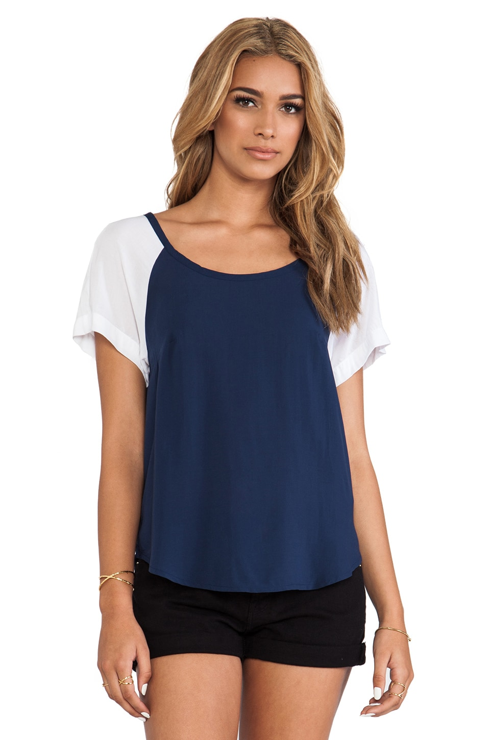 Splendid Color Blocked Shirt in Navy/White