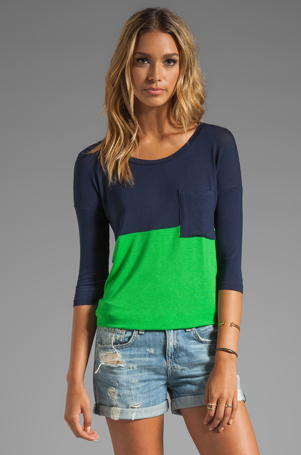 Splendid Drape Lux Jersey Top in Green/Navy