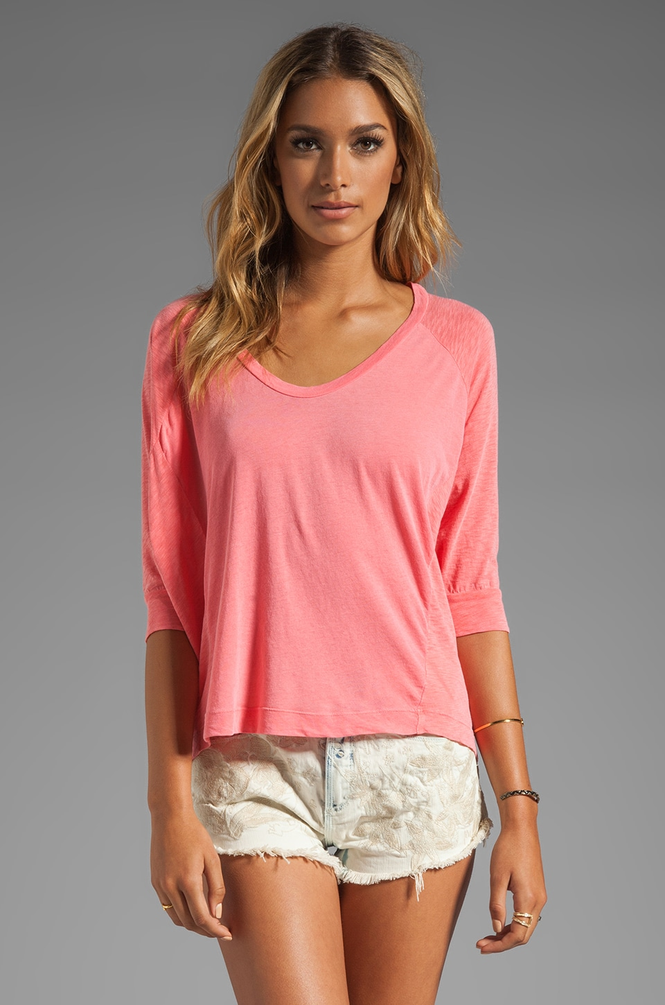 Splendid Whisper Long Sleeve Tee in Watermelon