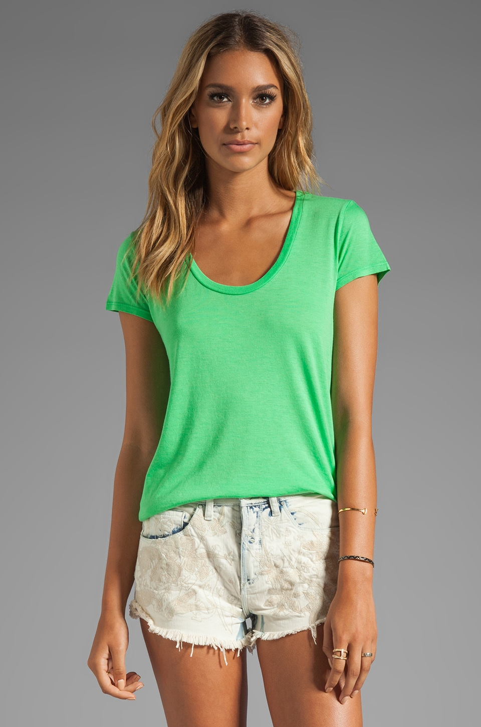 Splendid Jersey Short Sleeve Tee in Apple Green