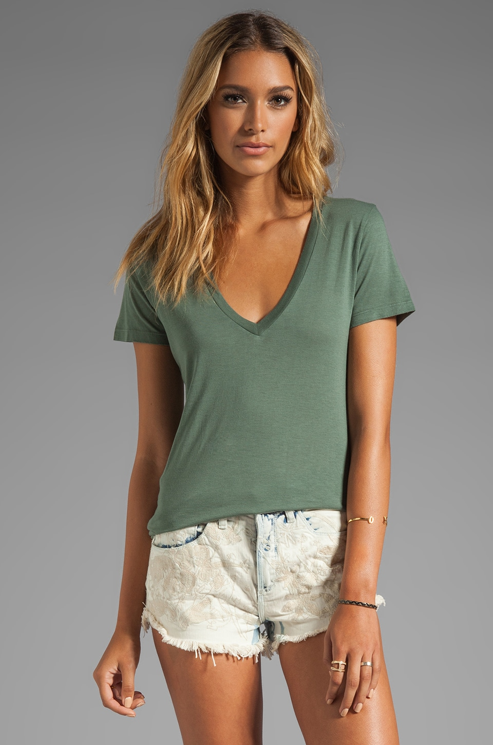 Splendid Jersey V-Neck Tee in Camo Green