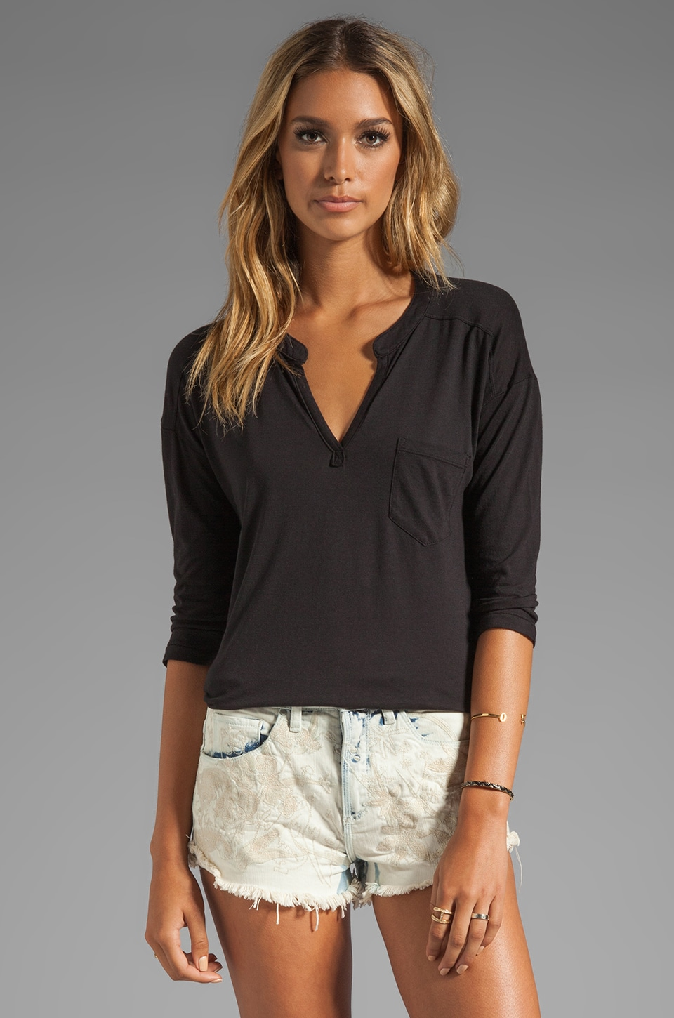 Splendid Long Sleeve Jersey Pocket Blouse in Black
