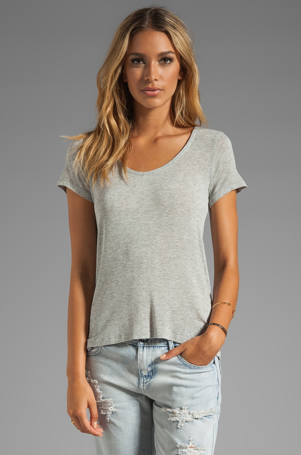 Splendid Lux Jersey Basic Tee in Heather Grey