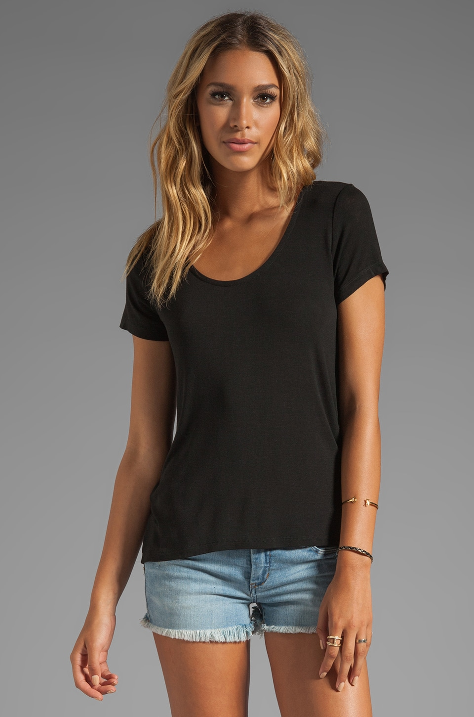 Splendid Lux Jersey Basic Tee in Black