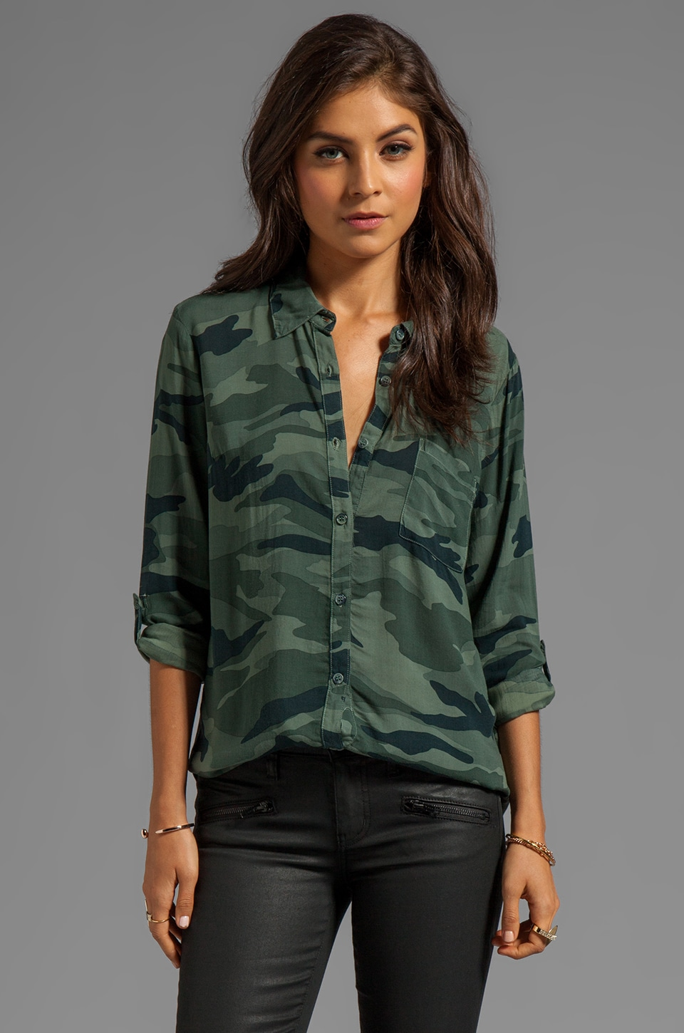 Splendid Camo Collard Top in Camo Green