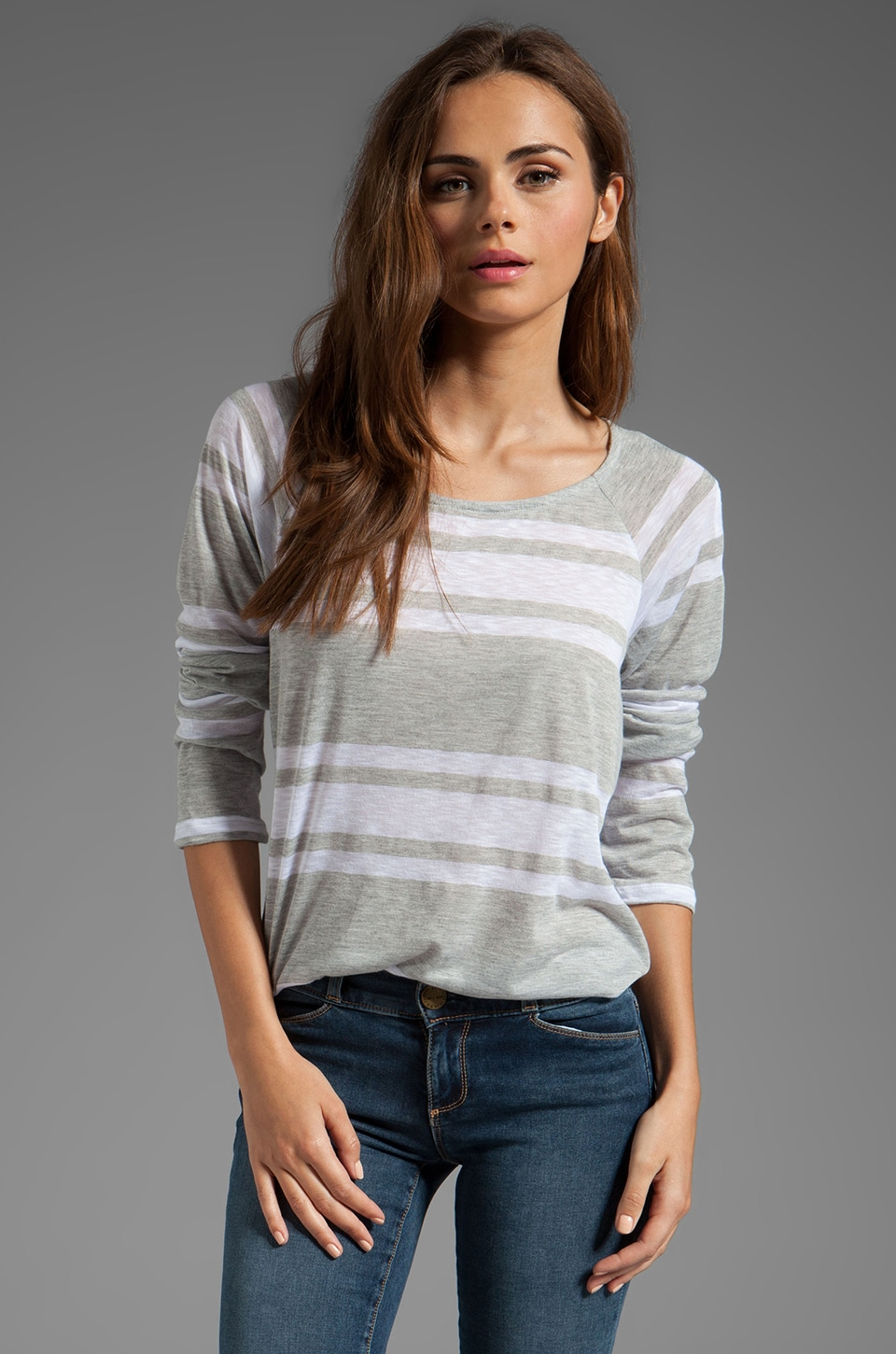 Splendid Stripe Long Sleeve Top in White