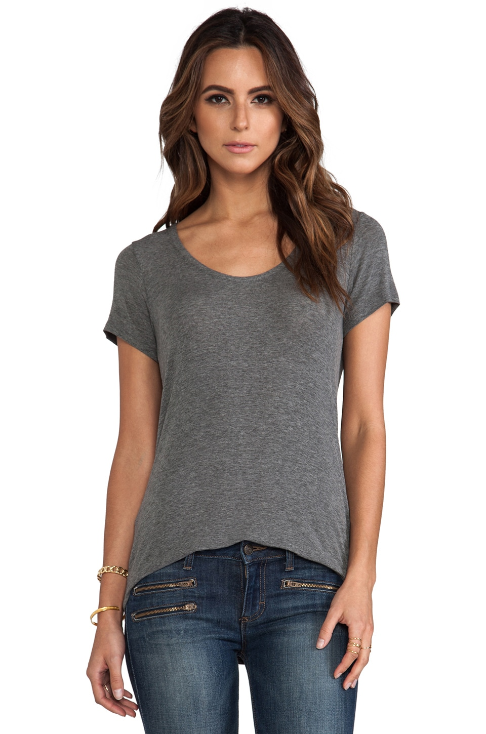 Splendid Drapey Lux Short Sleeve Tee in Steel