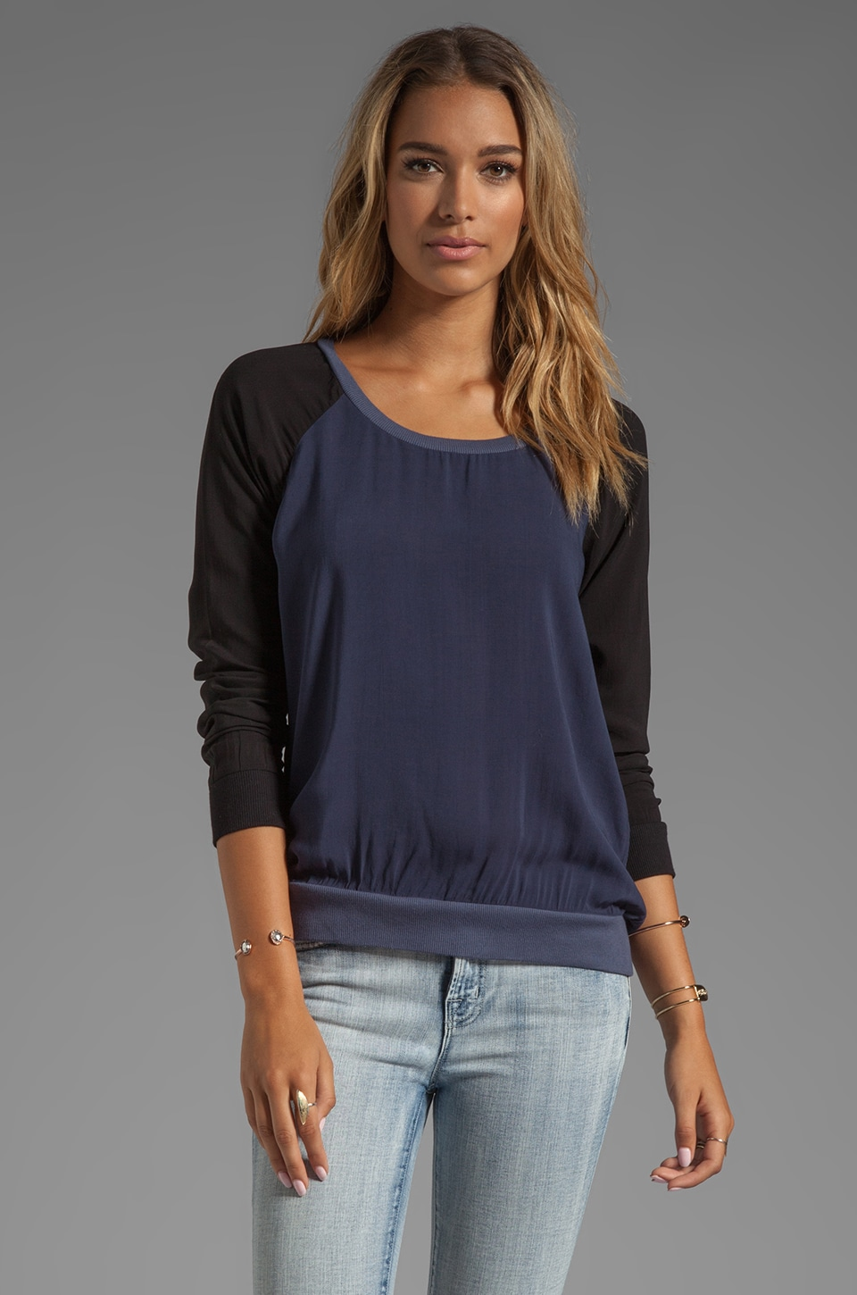 Splendid Sporty Blocked Shirting Long Sleeve in Navy