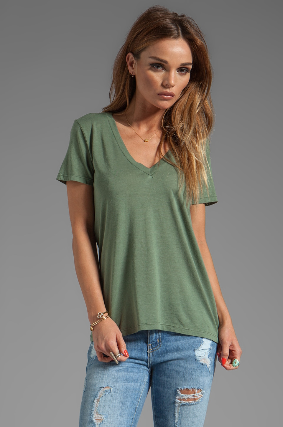 Splendid Light Jersey V-Neck Short Sleeve Tee in Camo