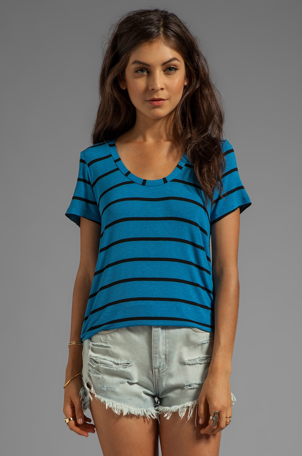 Splendid Brooklyn Striped Drapy Lux Short Sleeve in Bright Azure