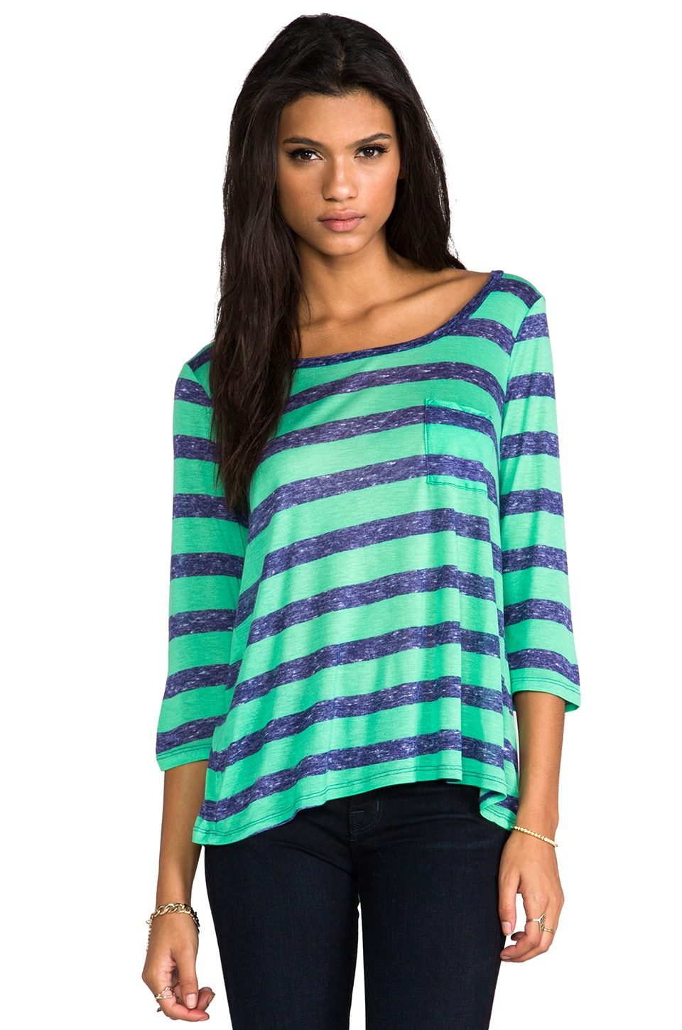 Splendid Venetian Heathered Stripe Top in Green/Navy