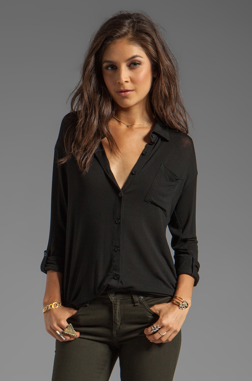 Splendid Drapey Lux Button Up on Black