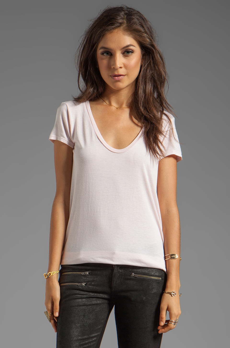 Splendid Light Jersey Short Sleeve Tee in Shell Pink