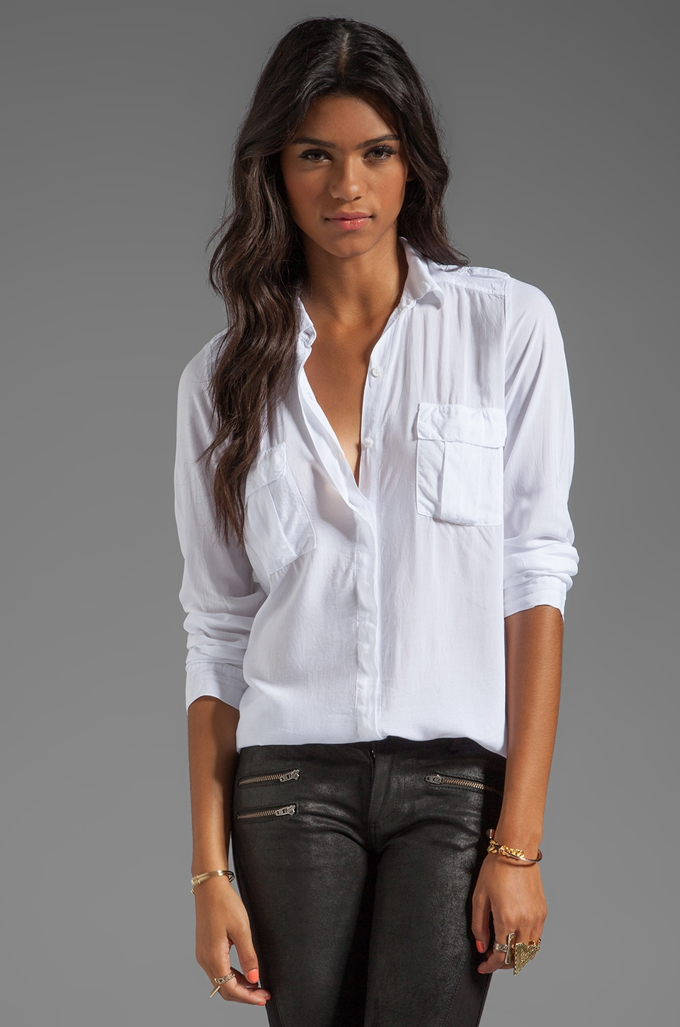 Splendid Shirting Long Sleeve Blouse in White