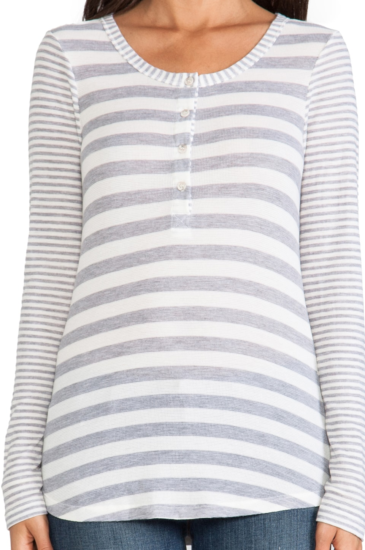 Splendid Heather Grey Stripe Mix Thermal Long Sleeve Henley in Sand Dollar