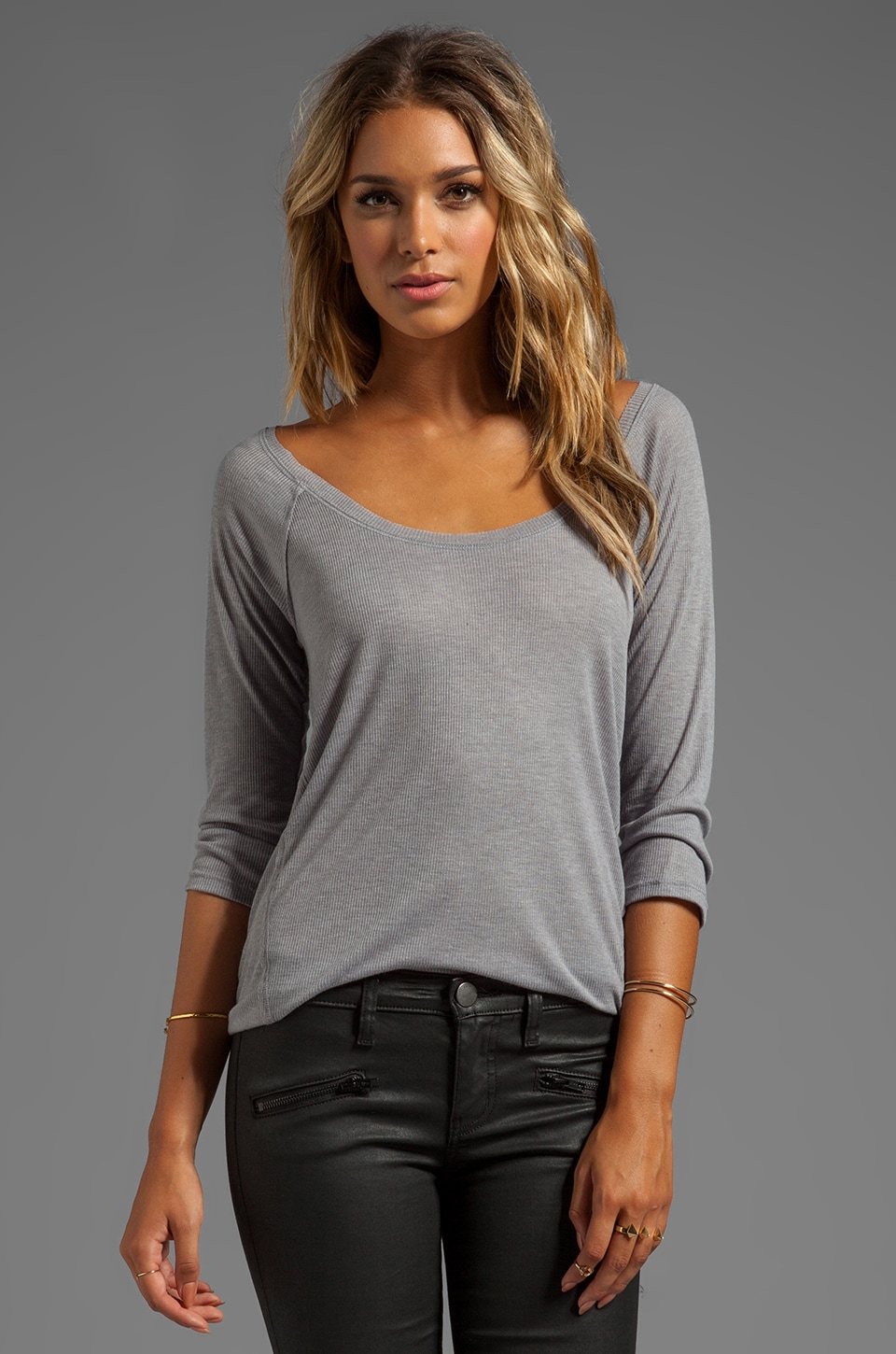 Splendid Drapey Rib Long Sleeve in Dark Heather Grey