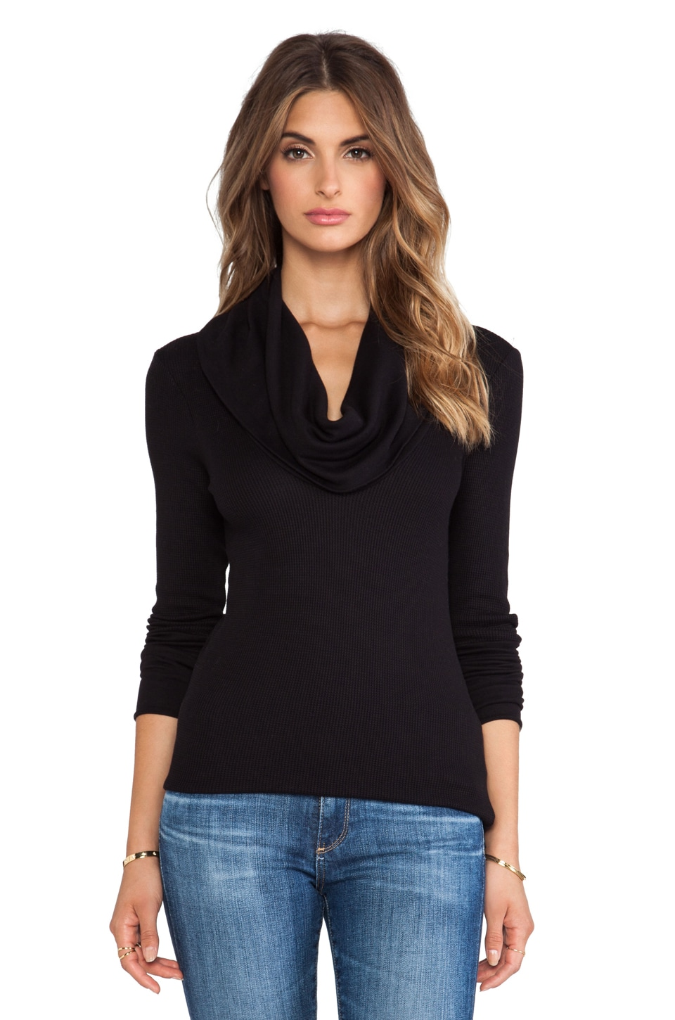 Splendid Thermal Long Sleeve Cowl Neck in Black