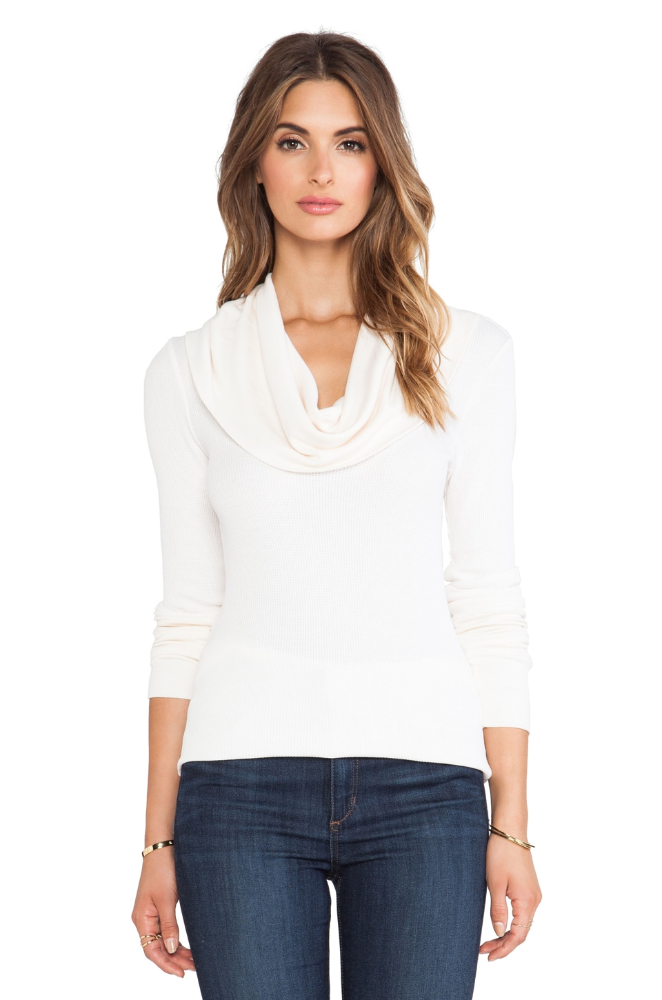 Splendid Thermal Long Sleeve Cowl Neck in Sand Dollar