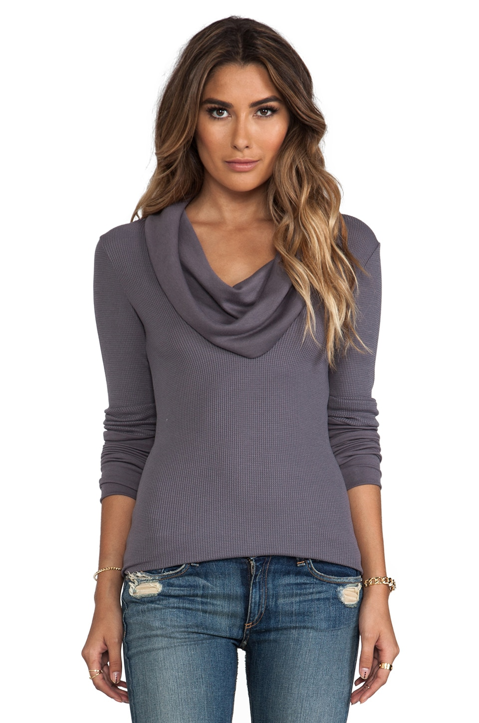 Splendid Thermal Long Sleeve Cowl Neck in Shadow