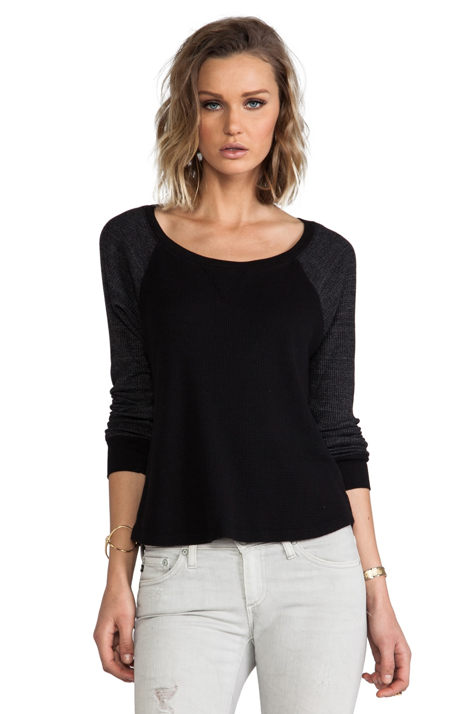 Splendid Thermal Long Sleeve Pullover in Black