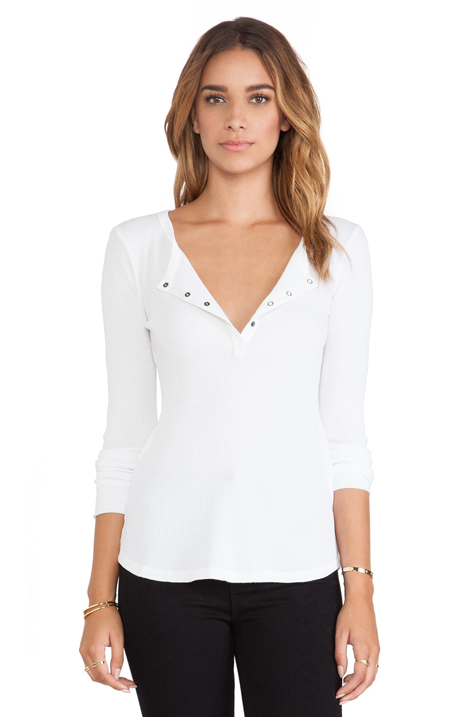 Splendid Thermal Long Sleeve Henley in White