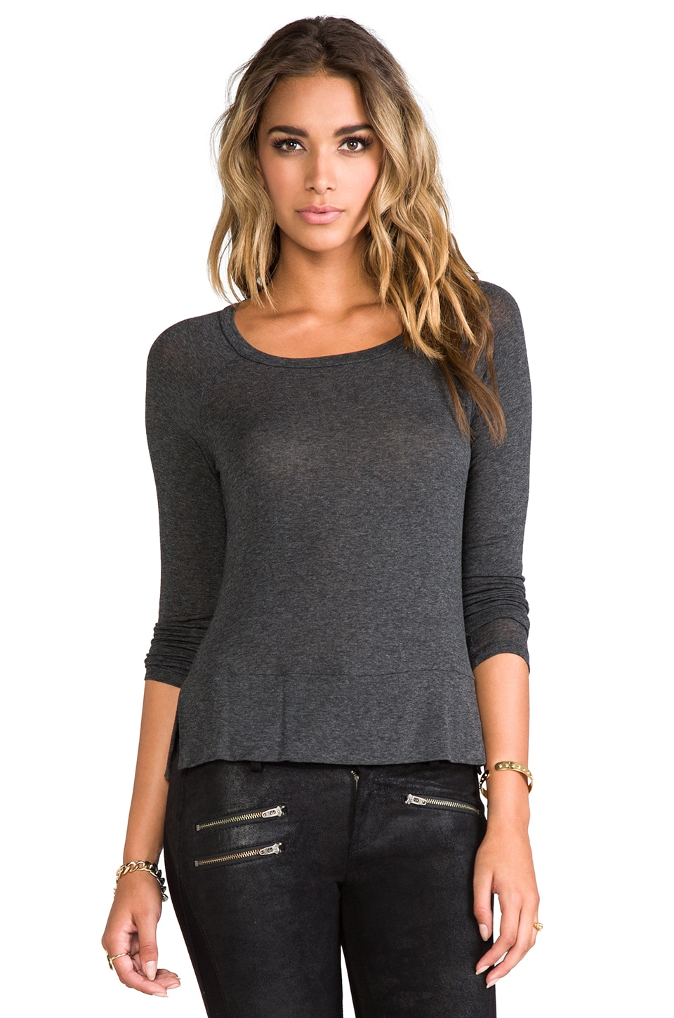Splendid Drapey Lux Tee in Charcoal