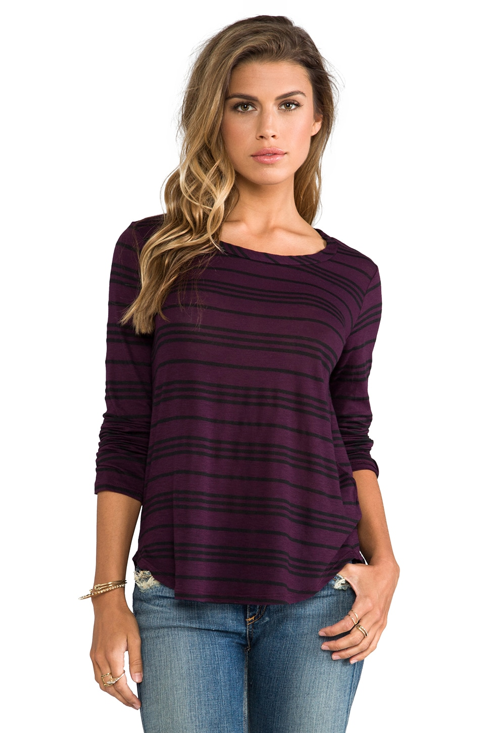 Splendid Stockholm Stripe Long Sleeve Tee in Eggplant/Black