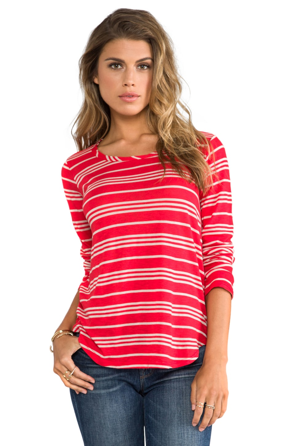 Splendid Stockholm Stripe Long Sleeve Tee in Vermillion/Camel