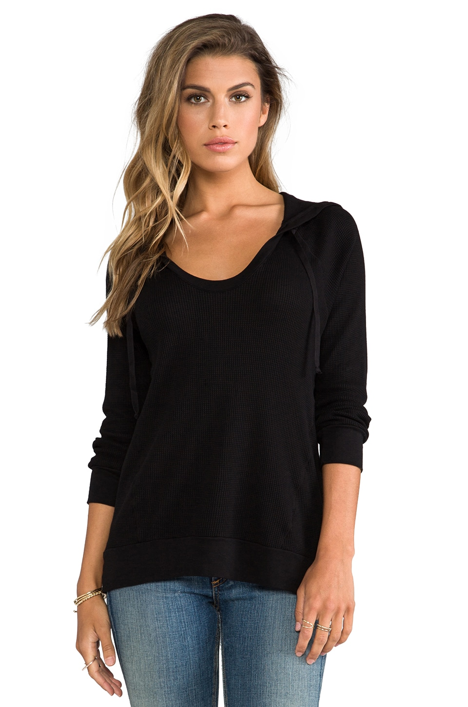 Splendid Thermal Pullover in Black