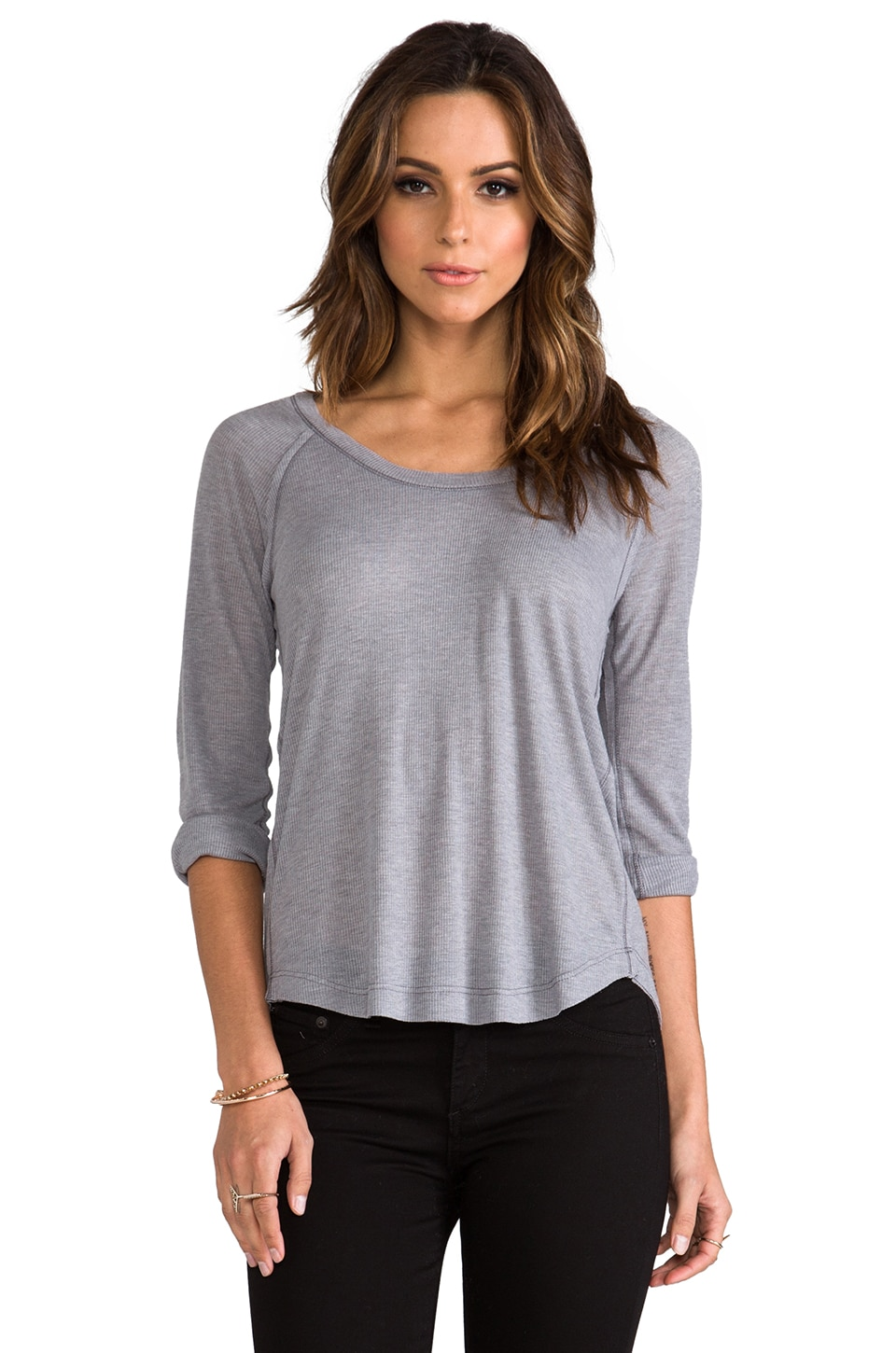 Splendid Drapey Rib Tee in Dark Heather