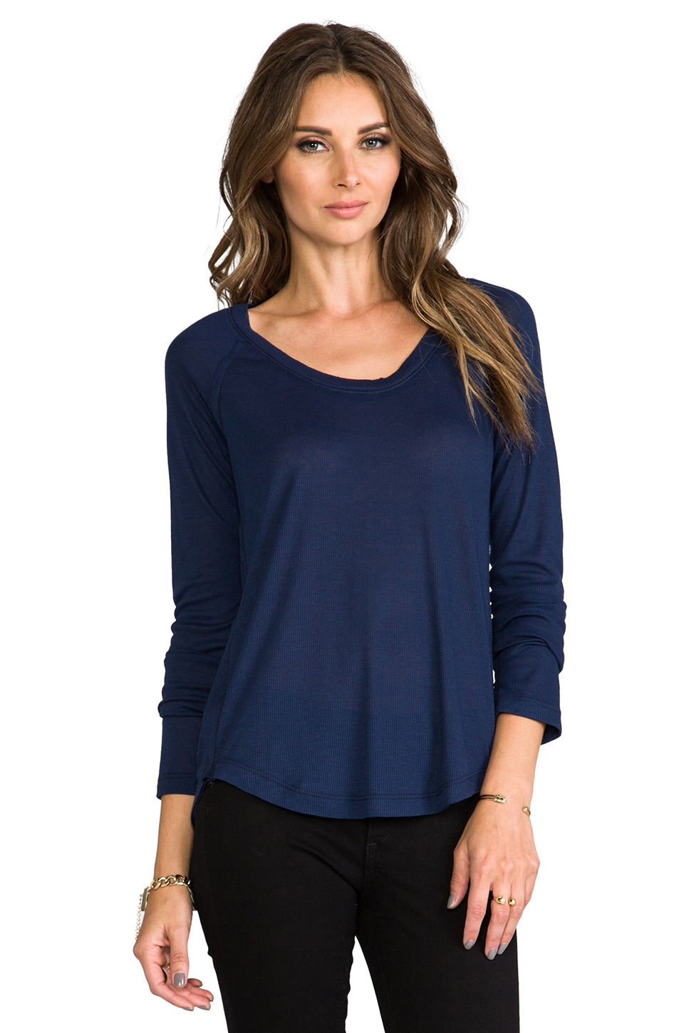 Splendid Drapey Rib Tee in Navy