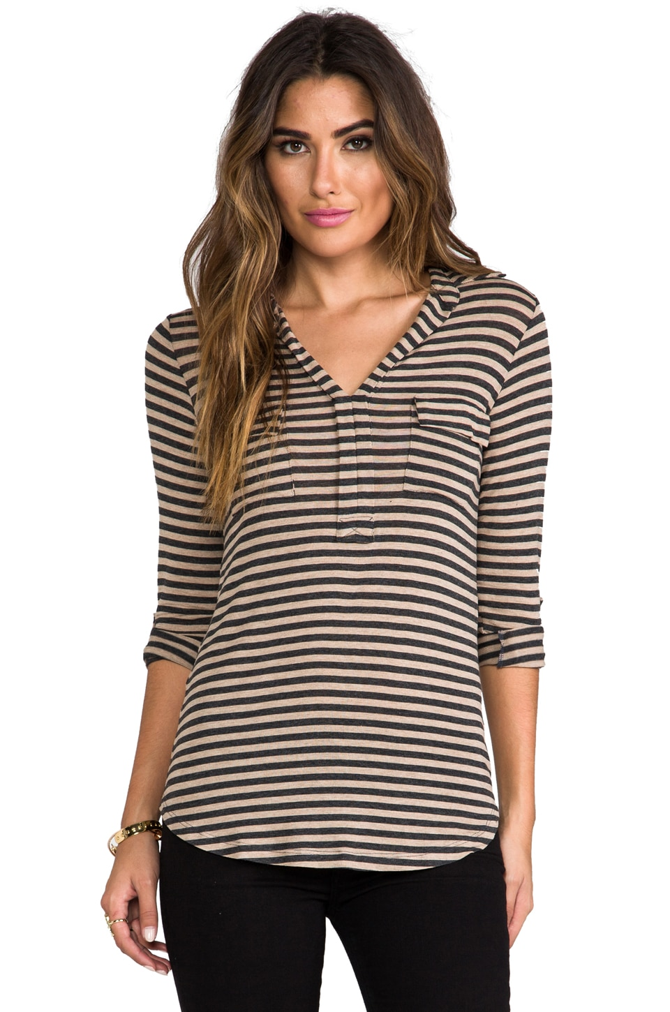 Splendid Striped Drapey Lux Shirting Top in Dune