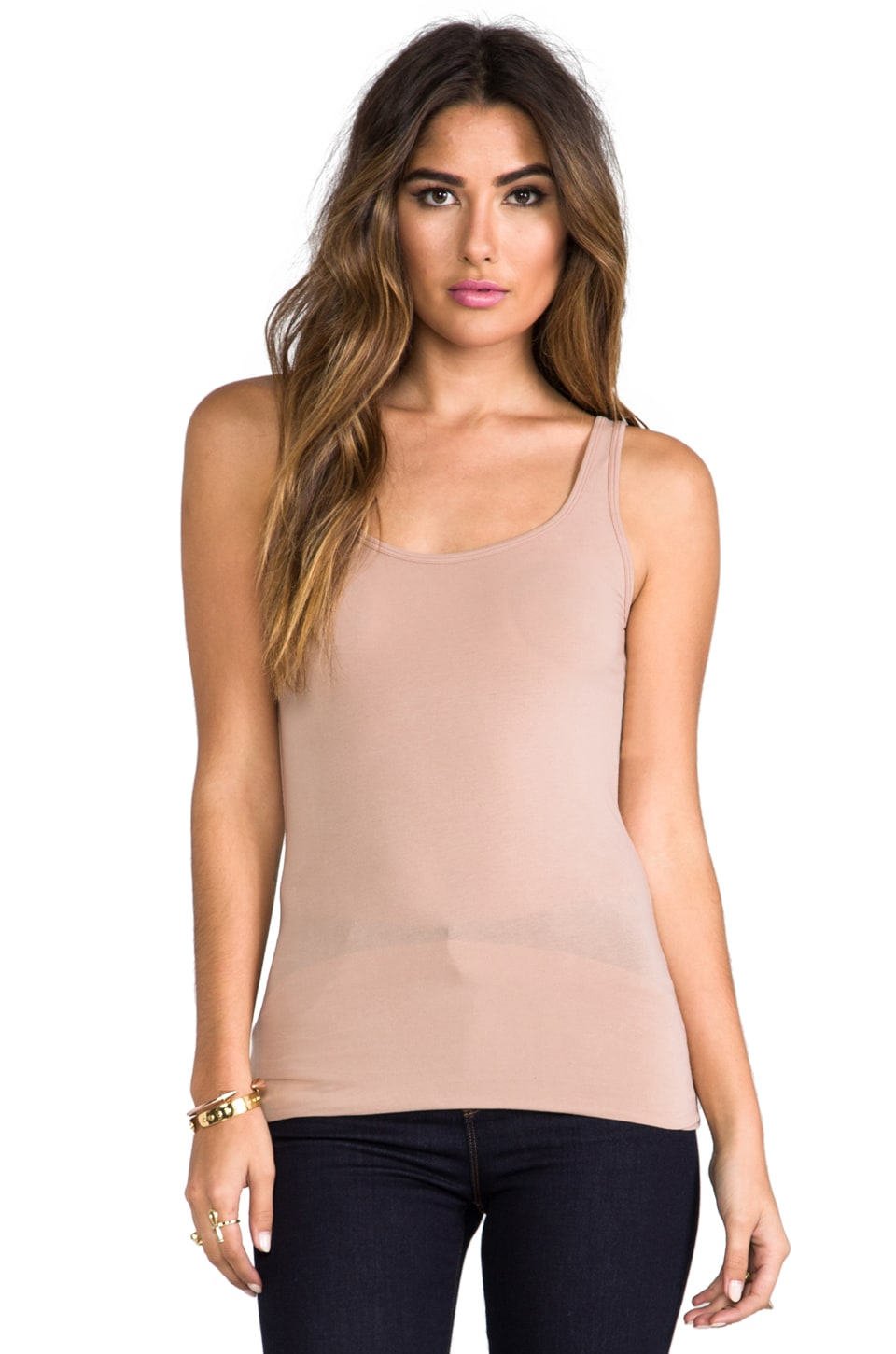 Splendid Layers Long Tank in Camel