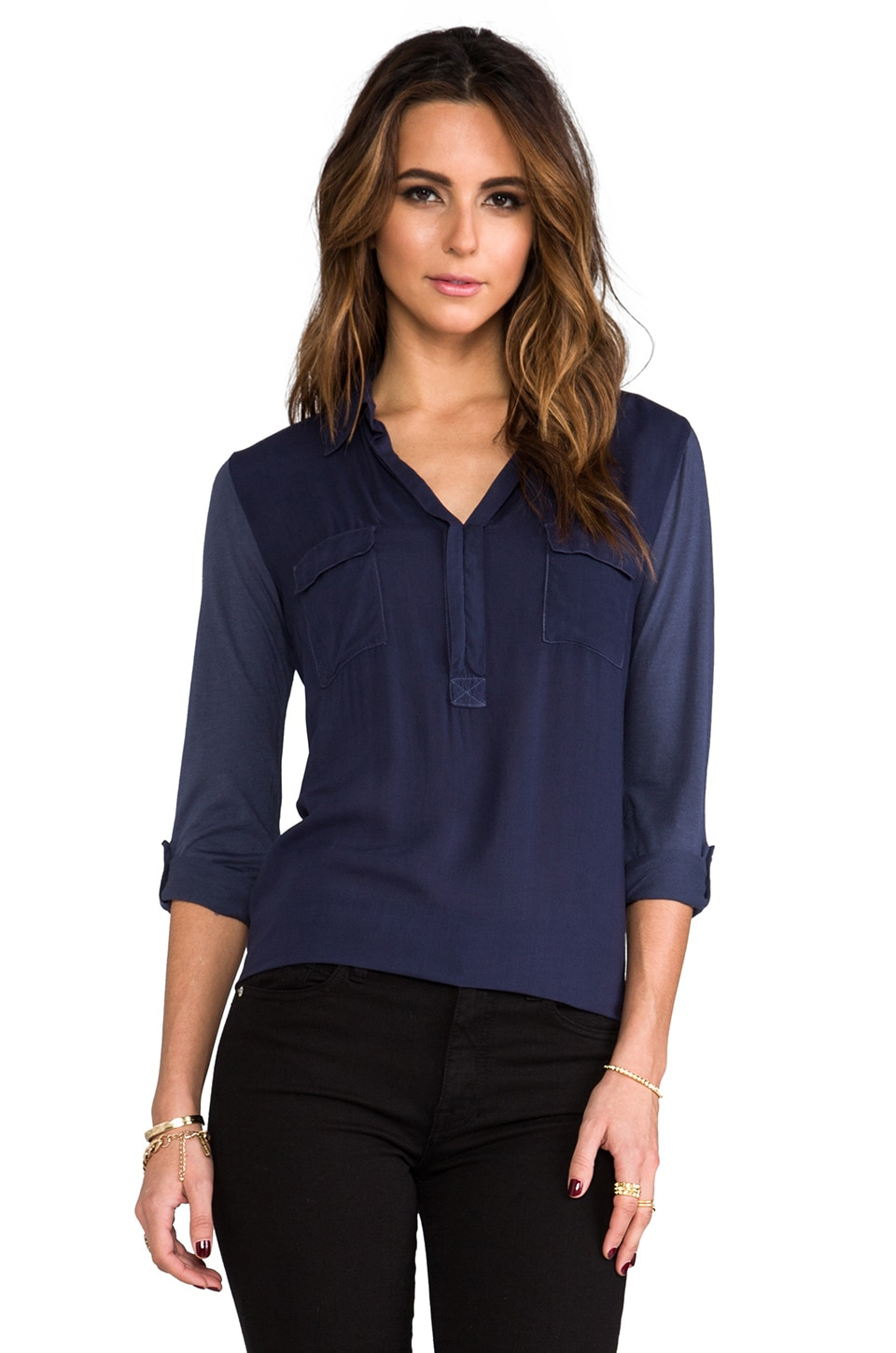Splendid Shirting Top in Navy