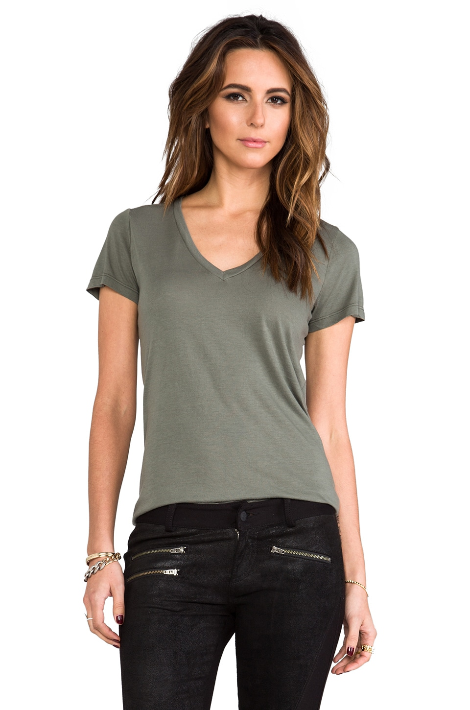 Splendid Very Light Jersey Tee in Army