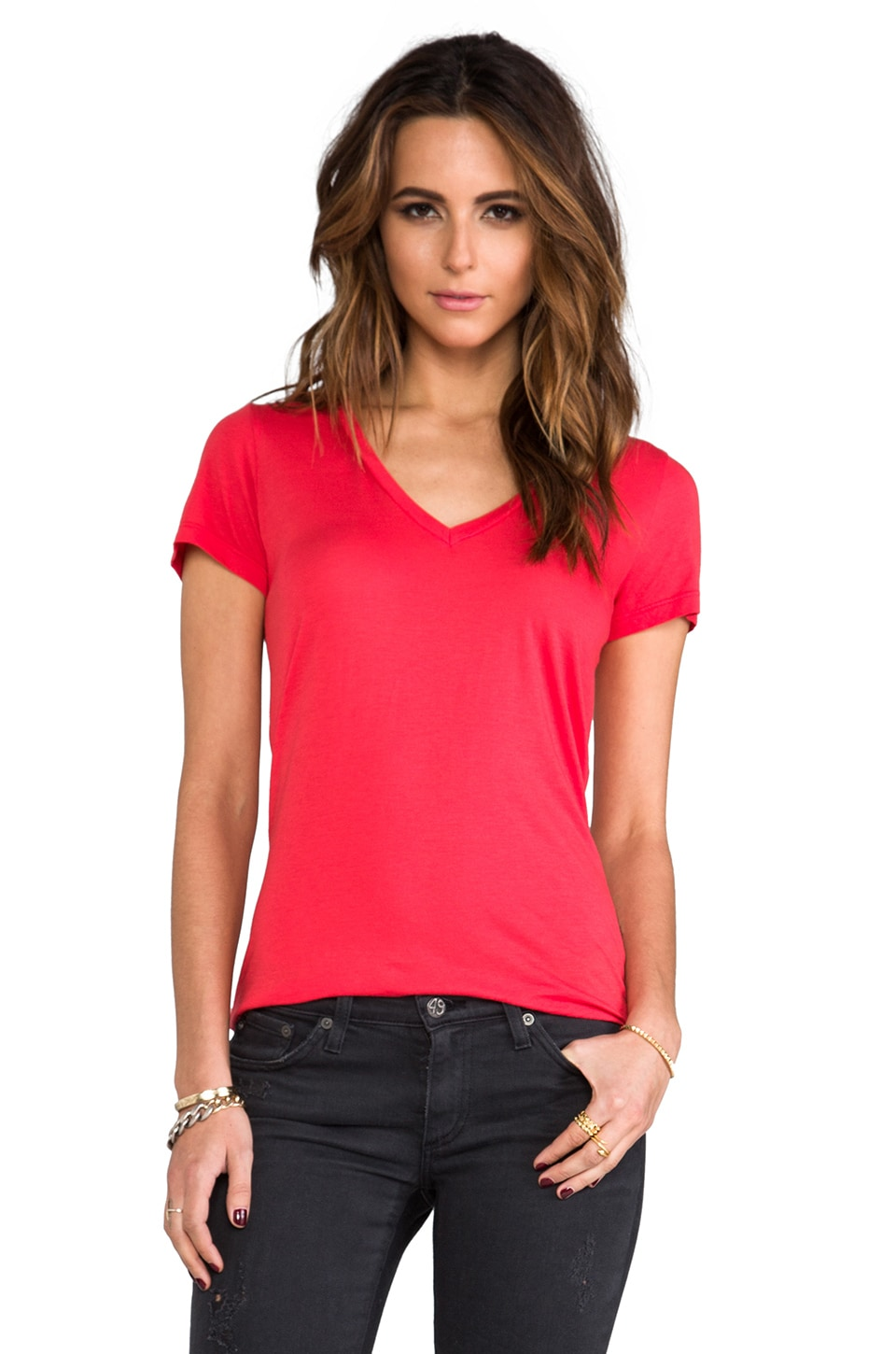 Splendid Very Light Jersey Tee in Roja