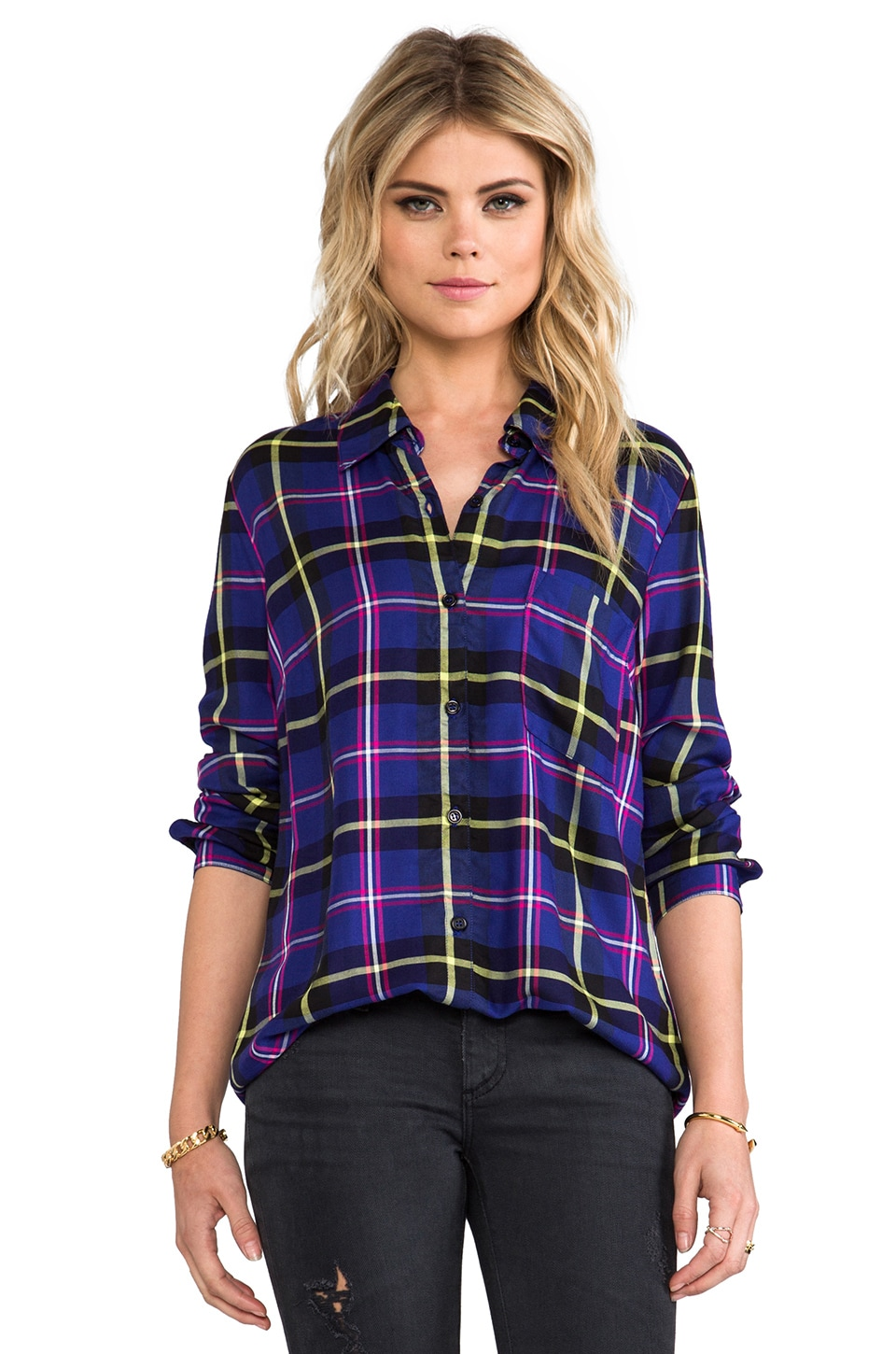 Splendid Snowpeak Plaid Button Down in Blue Jewel