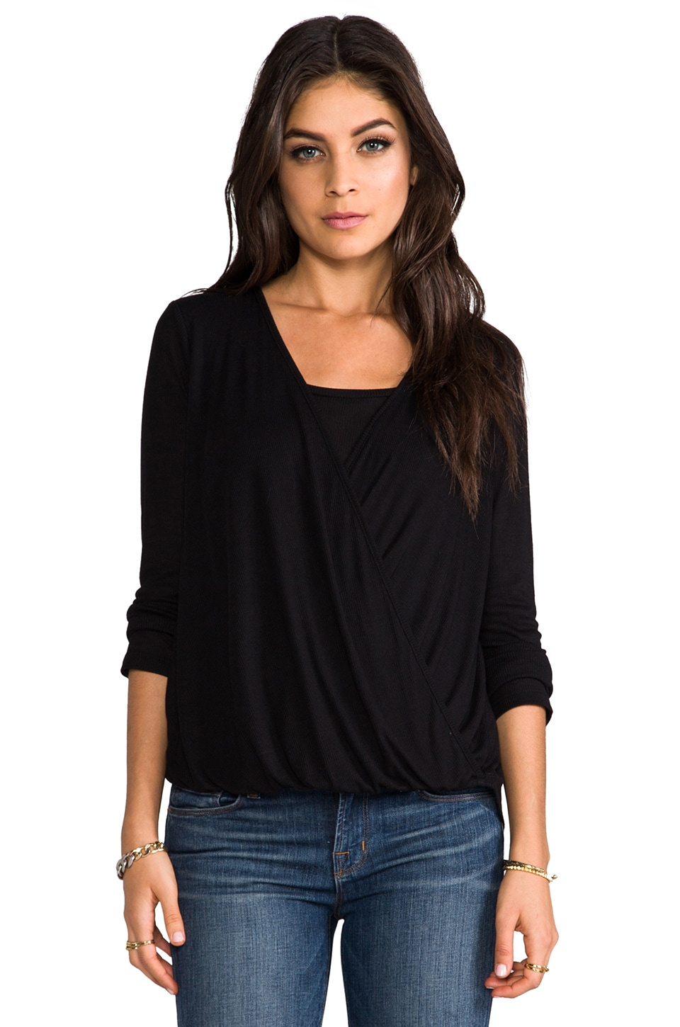 Splendid Drapey Rib Top in Black