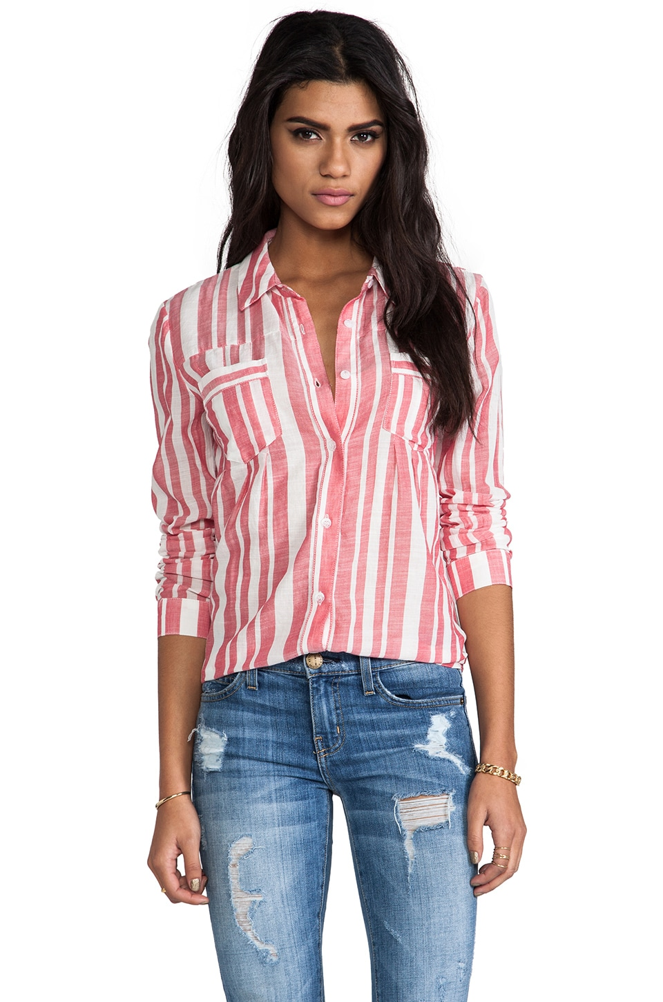 Splendid Oasis Stripe Shirting in Roja