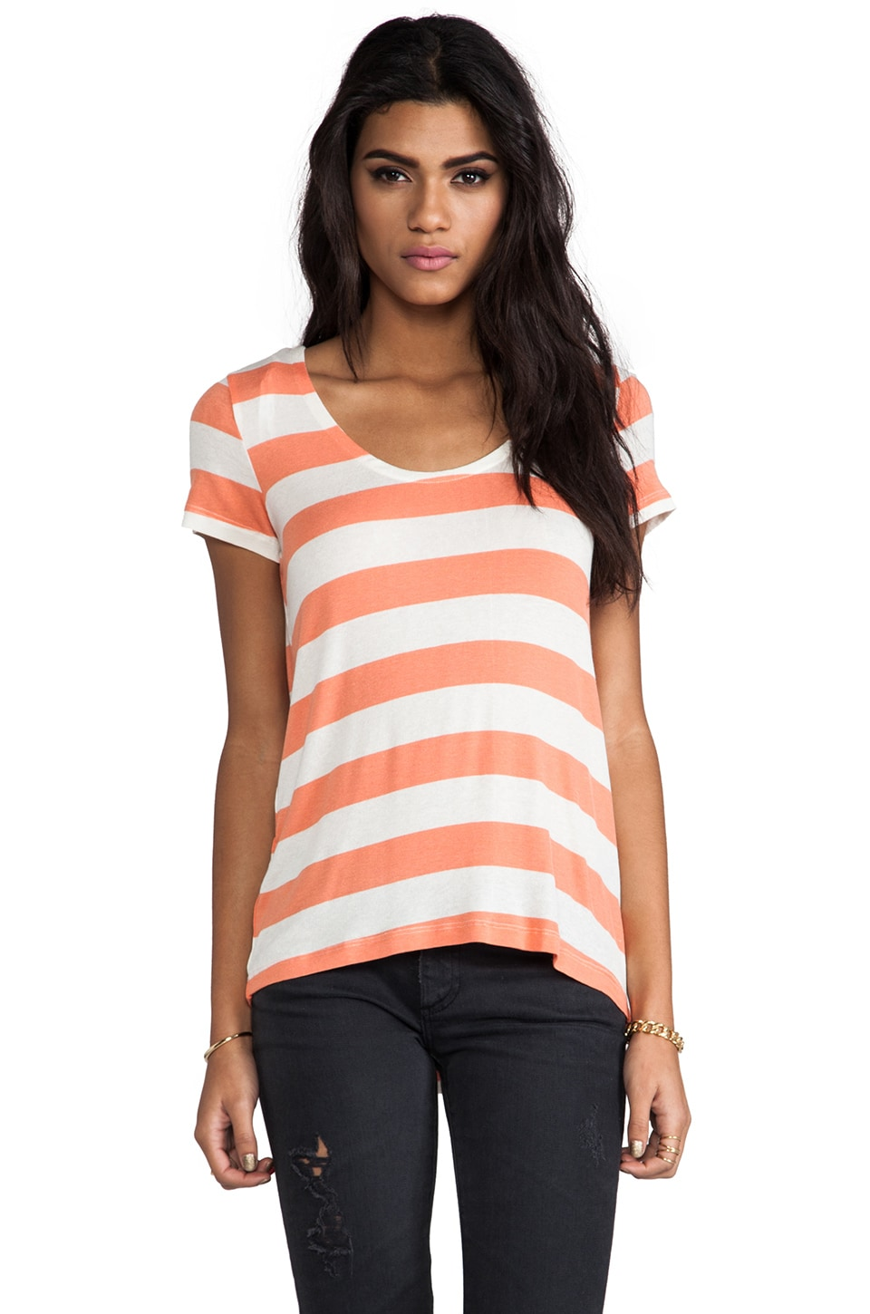 Splendid Striped Drapey Lux in Papaya & White