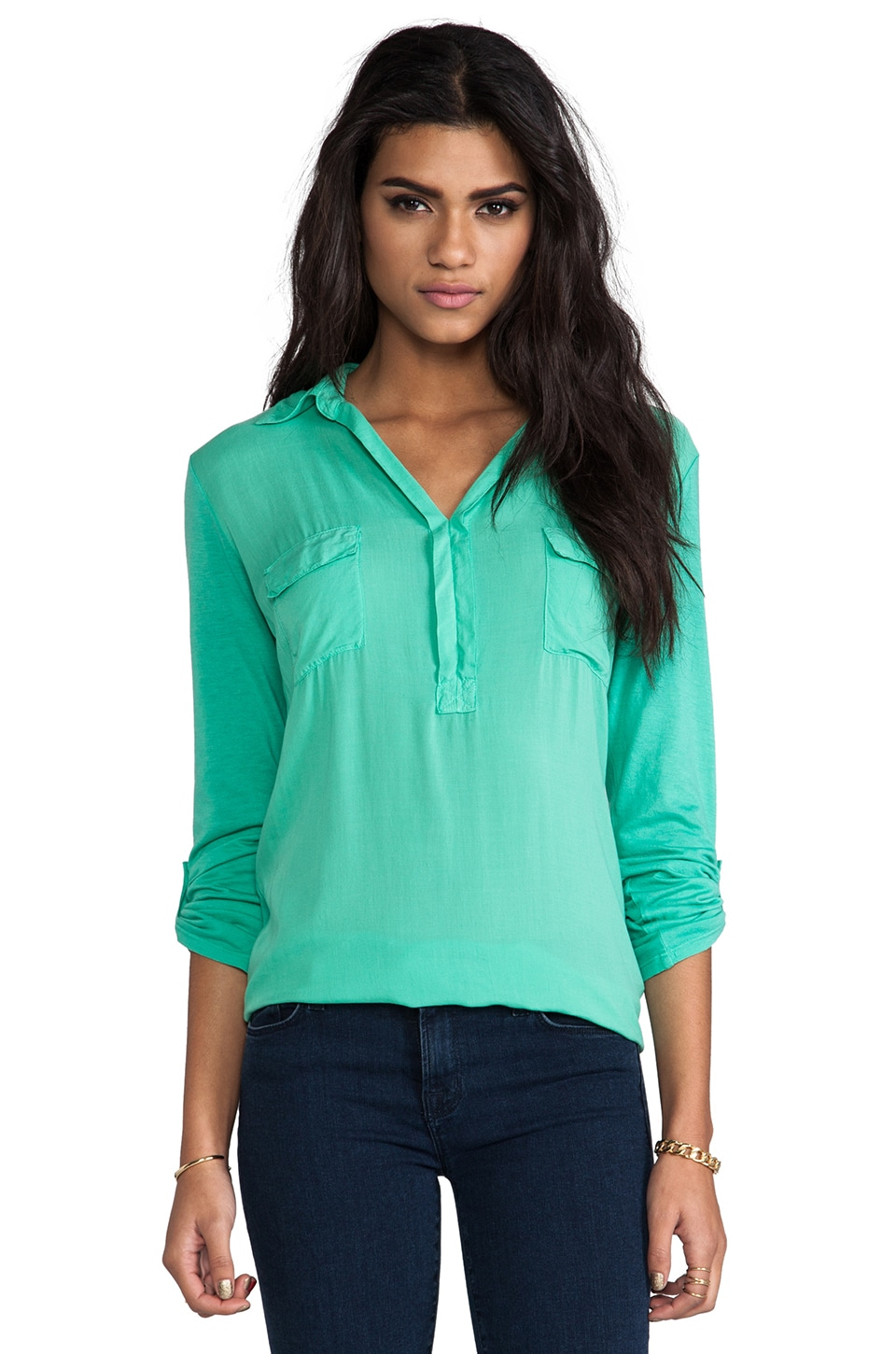 Splendid Shirting Top in Beach Glass