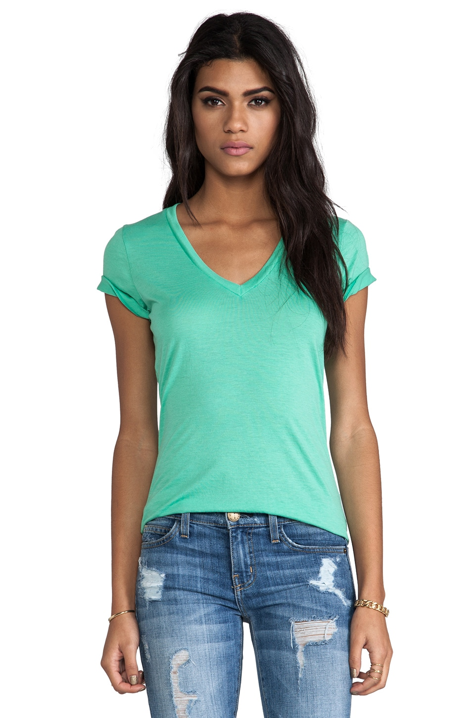 Splendid Very Light Jersey Tee in Beach Glass