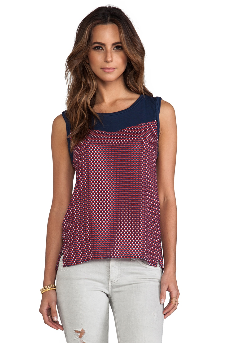 Splendid Harbor Geo Print Tank in Navy