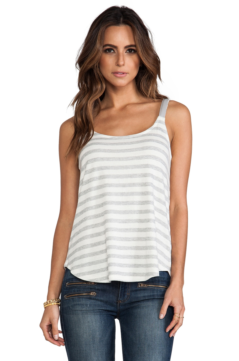 Splendid Cabrillo Stripe Tank in Heather Grey